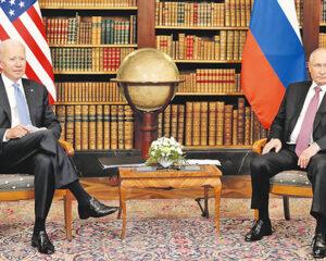 Президент Российской Федерации Владимир Путин с Президентом Соединённых Штатов Америки Джозефом Байденом.