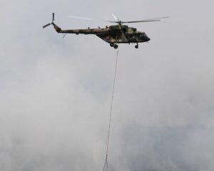 Российские вертолётчики потушили пожар в Латакии.